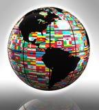 Señala el globo por medio de una bandera que ofrece América stock de ilustración