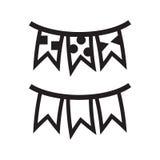Señala el icono de la guirnalda por medio de una bandera Imagen de archivo