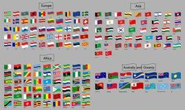 Señala el vector por medio de una bandera del mundo stock de ilustración