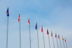 Señala la colección por medio de una bandera Foto de archivo