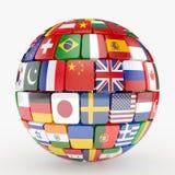 Señala la esfera de la colección por medio de una bandera Foto de archivo libre de regalías