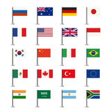 Señala vector de los iconos por medio de una bandera Fotografía de archivo libre de regalías