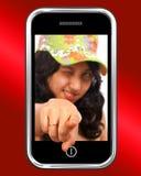 Señalamiento asiático joven de la muchacha del móvil Fotografía de archivo