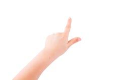 Señalamiento de la mano del niño Fotografía de archivo libre de regalías