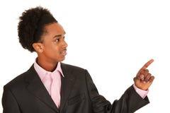 Señalar al hombre de negocios negro Imagenes de archivo