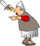 Señalar al soldado con una espada stock de ilustración