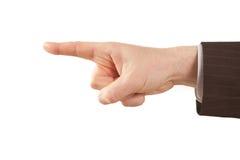 Señalar el dedo de la mano aislada del hombre de negocios Imagen de archivo libre de regalías