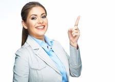 Señalar el dedo Mujer de negocios sonriente imagenes de archivo