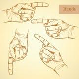 Señalar la mano, fondo del vector en estilo del bosquejo Imagen de archivo libre de regalías