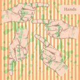 Señalar la mano, fondo del vector en estilo del bosquejo Fotos de archivo libres de regalías