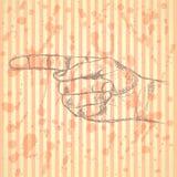 Señalar la mano, fondo del vector en estilo del bosquejo Foto de archivo libre de regalías