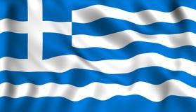 Señale Grecia por medio de una bandera que agita en el símbolo del Griego del viento stock de ilustración