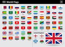 Señale los iconos por medio de una bandera del mundo con nombres en orden alfabético stock de ilustración