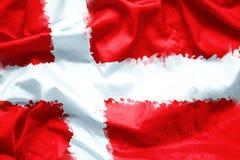 Señale Reino de Dinamarca por medio de una bandera por la brocha de la acuarela en la tela de la lona, estilo del grunge Imagen de archivo libre de regalías