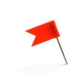 Señale un rojo del contacto por medio de una bandera Imágenes de archivo libres de regalías