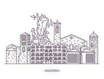 Señales andorranas de la arquitectura ilustración del vector