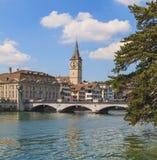 Señales arquitectónicas de la ciudad de Zurich Fotos de archivo libres de regalías