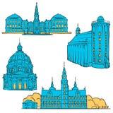 Señales coloreadas Dinamarca de Copenhague stock de ilustración