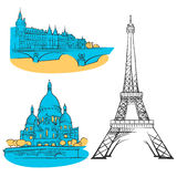 Señales coloreadas Francia de París stock de ilustración