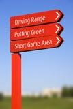Señales de dirección del campo de golf Foto de archivo