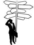 Señales de direcciones de la decisión de búsqueda del hombre de negocios ilustración del vector
