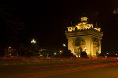 Señales de Patuxay de Laos imagenes de archivo