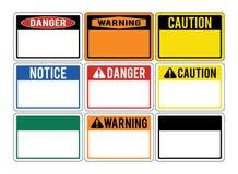Señales de peligro en blanco Sistema de señales de peligro sobre los peligros dan Imagen de archivo
