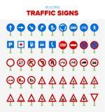 45 señales de tráfico stock de ilustración