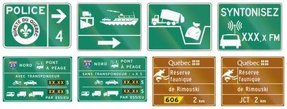 Señales de tráfico de la guía en Quebec - Canadá Imagenes de archivo