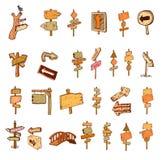 Señales de tráfico de madera dibujadas mano Imagen de archivo