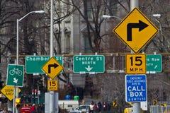 Señales de tráfico de Nueva York Imagen de archivo