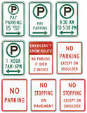 Señales de tráfico reguladoras de Estados Unidos MUTCD Foto de archivo libre de regalías