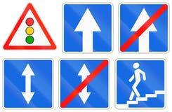 Señales de tráfico usadas en Rusia Imagen de archivo libre de regalías