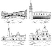 Señales de Venecia y atracciones turísticas fijadas Ilustración del vector fotografía de archivo