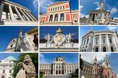 Señales de Viena en un collage imagenes de archivo