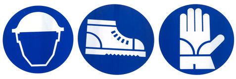 Señales del equipo de seguridad: Casco, guantes protectores, zapatos de Protectives fotos de archivo libres de regalías