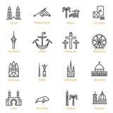 Señales del mundo - línea icono del vector fijado - parte IV stock de ilustración