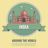 Señales del mundo La India Fondo del viaje y del turismo Línea estilo del arte Vector libre illustration