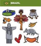 Señales del viaje del turismo del Brasil e iconos de visita turístico de excursión famosos del vector fijados stock de ilustración