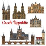 Señales del viaje y monumentos de la República Checa Foto de archivo libre de regalías