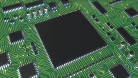Señales eléctricas en el PWB verde o la placa de circuito impresa Animación conceptual relacionada de la informática almacen de metraje de vídeo