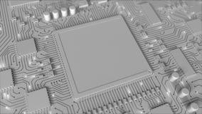 Señales en el PWB en blanco del gris o la placa de circuito impresa Animación loopable conceptual 3D ilustración del vector