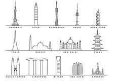 Señales famosas de Asia con la línea estilo plana libre illustration