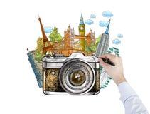 Señales famosas de dibujo del mundo, foto, Imagenes de archivo