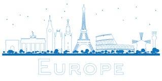 Señales famosas del esquema en Europa libre illustration