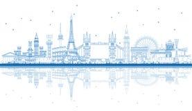 Señales famosas del esquema en Europa con reflexiones stock de ilustración