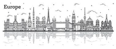 Señales famosas del esquema en Europa con reflexiones libre illustration