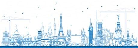 Señales famosas del esquema en Europa Ilustración del vector stock de ilustración