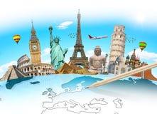 Señales famosas del mundo agrupado junto ilustración del vector