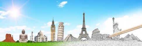 Señales famosas del mundo agrupado junto stock de ilustración